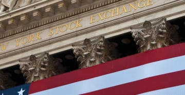 NY Stock Exchange with American Flag